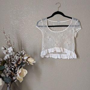Charlotte Russe Cream Floral Lace Crop Top Sz S